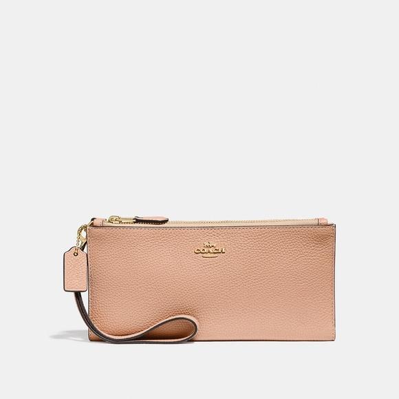 Coach Double Zip Wallet Nude Pink